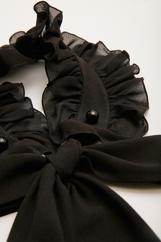 Dianna Ruffle Neck Collar (Black)