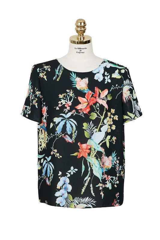 Parrot Print Top Blouse (black)