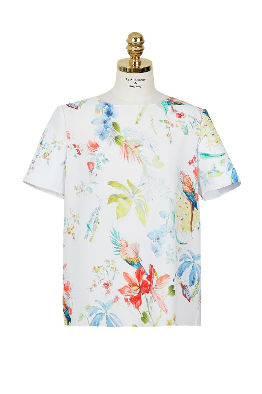 Parrot Print Top Blouse (white)