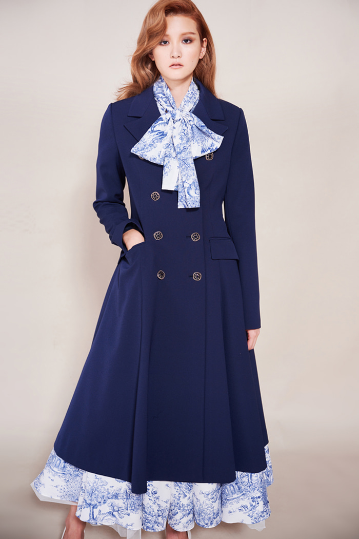 Jewel Button Long Jacket (Navy)